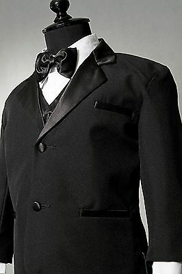 ADORABLE BOY TUXEDO BLACK GRADUATION FORMAL SUIT WITH VEST AND BOW TIE ALL SIZES