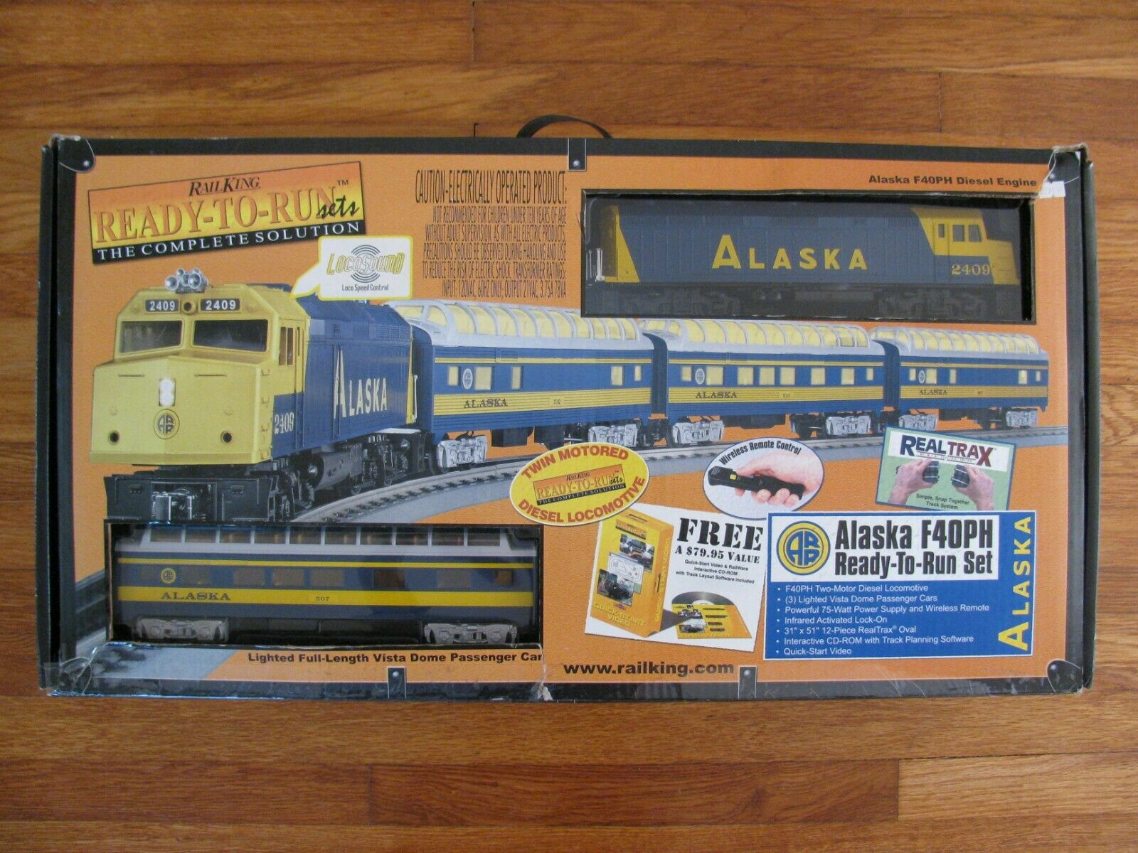 Listo para correr MTH Alaska F40PH Diesel Pasajero Set con Sonido Loco  30-4055-0 ex