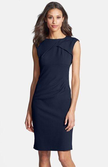 ADRIANNA PAPELL PLEATED CREPE NAVY SHEATH DRESS sz 12