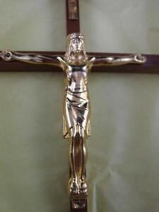 Wooden Cross Gold Metal Christ