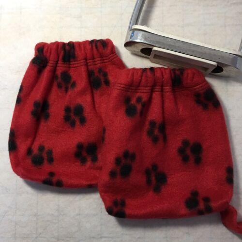 rouge en polaire pour chien imprimé Sacs dressage étrier Protecteurs Fer Couvre Anglais