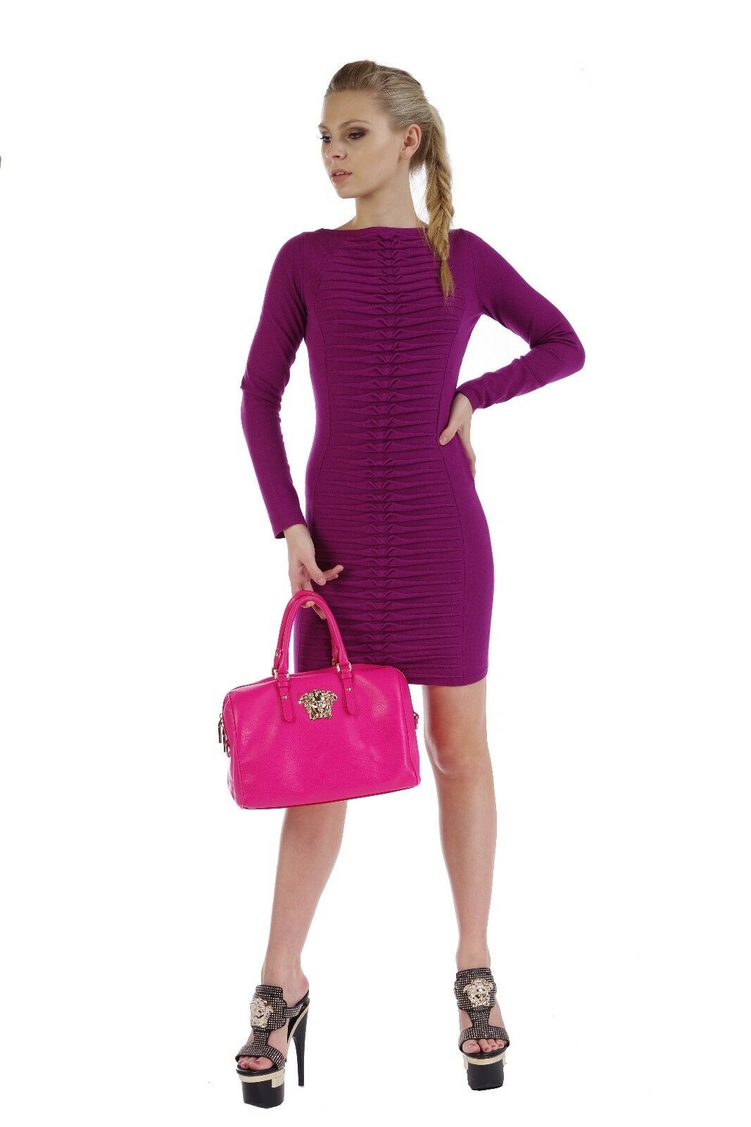 New Versace Collection Magenta Knit Long Sleeve Dress 38 - 4
