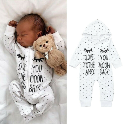 Newborn Infant Baby Boys Girls Letter Hooded Romper Jumpsuit Outfits Clothes