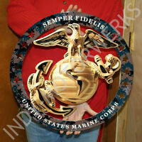 Usmc Enlisted Ega Round Large Emblem Insignia 19x19 Marine Corps Semper Fi