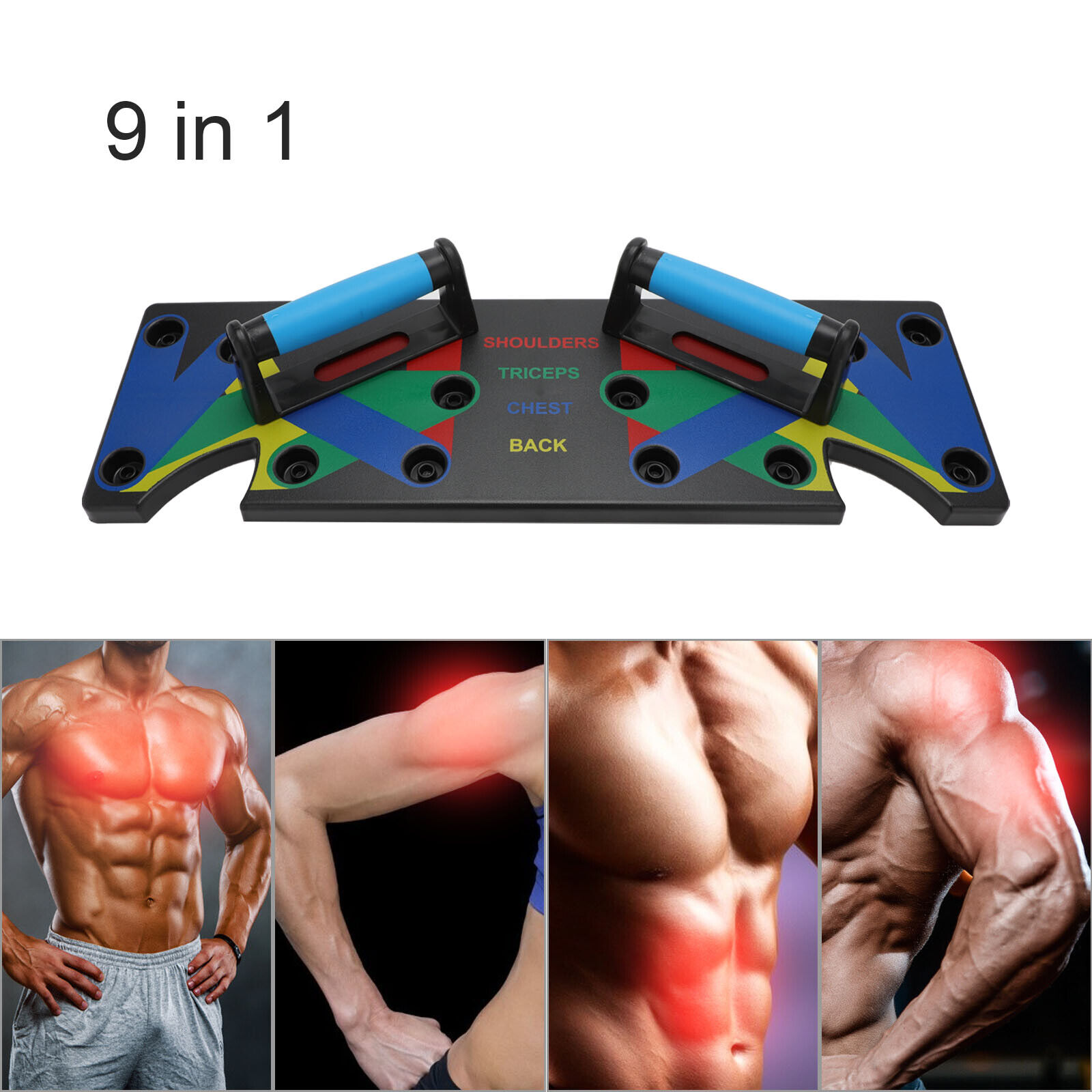 9 in 1 Push Up Rack Board System Fitness Workout Train Gym Exercise Stands