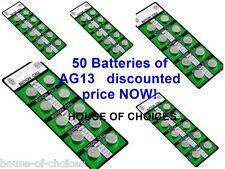 50 X AG13 LR44 SR44 L1154 357 A76 QUALITY ALKALINE BUTTON / COIN CELLS BATTERIES