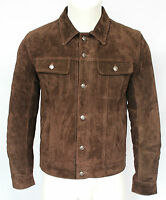 Mens 1280 Brown Suede Trucker Stylish Classic Casual Shirt Real Leather Jacket