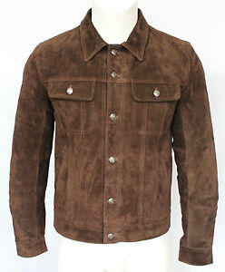 Mens 1280 Brown Suede Trucker Stylish Classic Casual Shirt