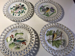VINTAGE UCAGCO CHINA HAND PAINTED JAPAN  BIRD,LOT OF 4, Wall Plates W/HANGERS