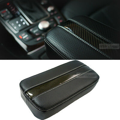 For Car Vehicle Accessories Sports Carbon Line Armrest Console Cushion White