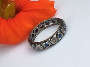 Antique-Art-Deco-Size-M-eternity-ring-9ct-gold-amp-silver-Sapphire-Diamond-Paste