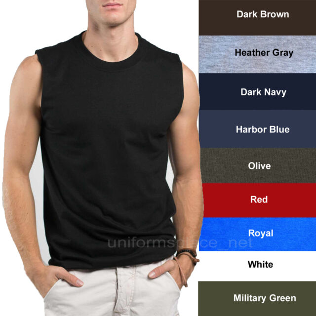 dc80ceda6256 Details about Mens T-Shirt TANK Cotton Sleeveless Muscle Tee Shirts Plain  colors Size S - 3XL