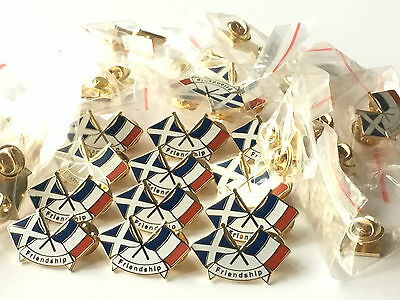 Friendship 50 x of amp; France New pin Bag badges Enamel courtesy Scotland lapel C6W4yRc