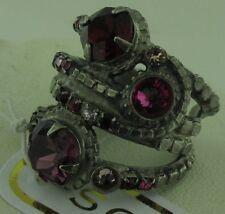 Sorrelli Pink Ruby Ring RCG18ASPR antique silver tone