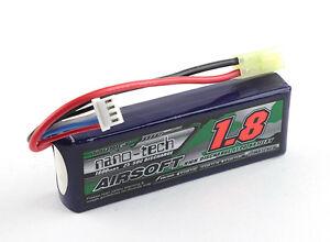 New Turnigy nano-tech 1800mah 3S 20C 40C 11.1V Lipo Battery Airsoft Pack US A1