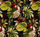 Outdoor/ Indoor ~ Upholstery ~ Tropical Foliage on Black ~ Fabric ~ per 1/4 yard