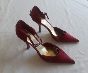 Nine-West-Women-s-Burgundy-Diamond-Accent-Pointed-Strappy-High-Heels-Sz-8