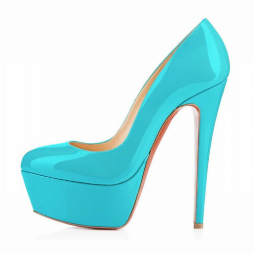 Womens 14CM Platform High Heel Shoes Wedding Bridal Court Pumps Plus Size Heels