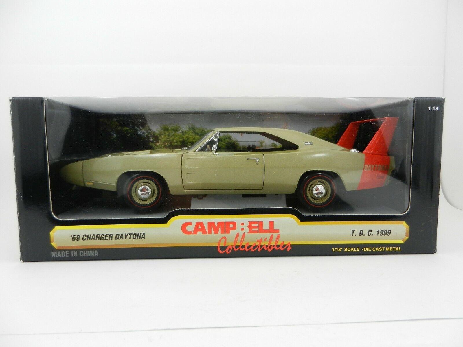 1 18 ERTL CAMPBELL COLLECTIBLES Gold 1969 Dodge Charger DAYTONA NIB