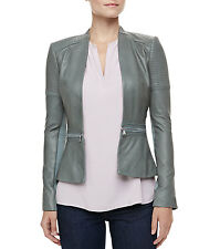 REBECCA TAYLOR GREY LEATHER PEP MOTORCYCLE JACKET US 10 UK 12