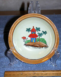 Vintage-5-1-4-034-Hand-Painted-China-Salad-Bowl-with-Pagoda-Design-Made-in-Japan