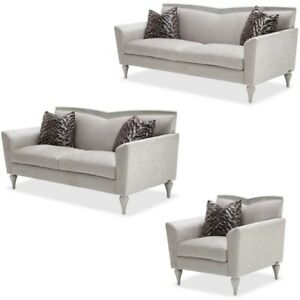 Terrific Details About Aico Furniture Melrose Plaza 3 Piece Living Room Set 9019815 Dvgry 118 3Set Pabps2019 Chair Design Images Pabps2019Com
