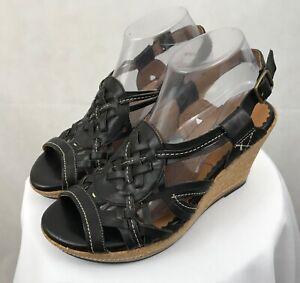 Details about Women's Indigo by Clarks Wedge Sandals Heels Black Size 9, EUC
