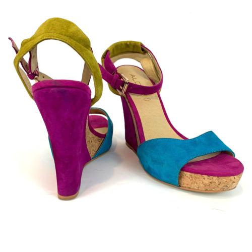ALDO Purple Teal Fuchsia Yellow Suede Cork Wedge S