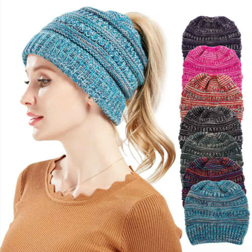 For Women Beanie tail Messy High Bun Ponytail Stretchy Knit Skull Winter Hats US