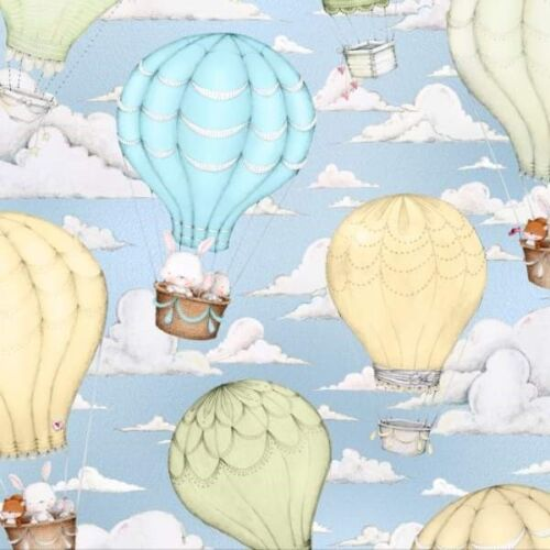 Up and Away Hot Air Balloon Scenic Bunny Mouse Blue Fabric Fat Quarter Up