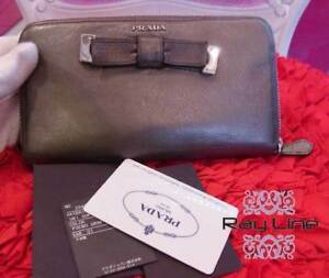 0ceddec7db7f Image is loading 100-authentic-PRADA-Round-Zipper-Wallet-Gray-Used