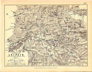 Map Battle of Leipzig 1619 October 1813 Napoleonic Wars eBay