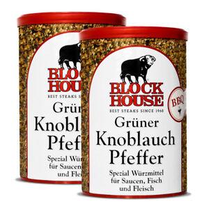 2-Dosen-The-Block-House-Gruener-Knoblauch-Pfeffer-200g-Gourmet-Gewuerz-Restaurant