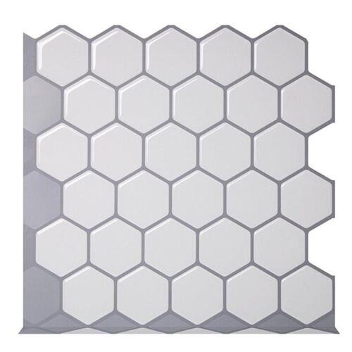 Hexagon Vinyl Sticker Self Adhesive Wallpaper 3D Peel/&Stick Kitchen Wall Tiles