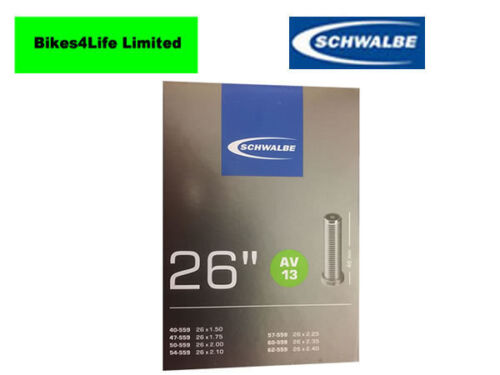AUTO VALVE 1 X SCHWALBE AV13-26 x 1.5  INCH BIKE INNER TUBE  SCHRADER VALVE