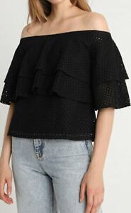 BANANA-REPUBLIC-LACE-OFF-THE-SHOULDER-RUFFLE-BLOUSE-SIZE-S