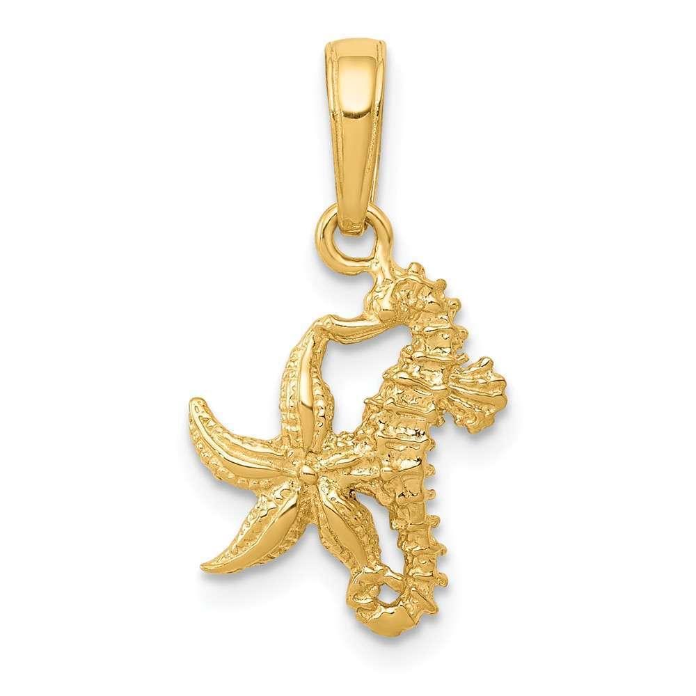 14K Yellow gold Solid Seahorse & Starfish Pendant