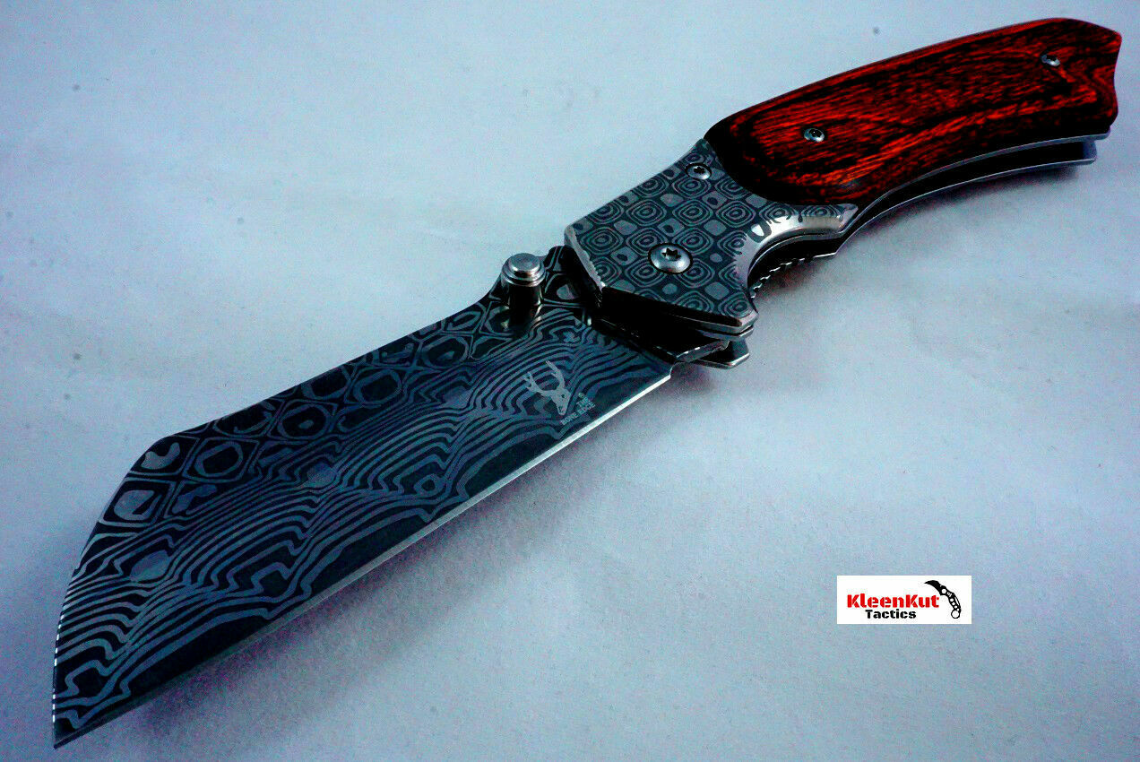 8″ Damascus Etch TACTICAL Spring Assisted Open Pocket Knife Wood CLEAVER RAZOR