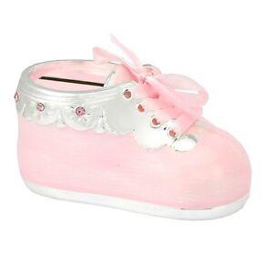 argent bébé de Tirelire pour baptême rose fille né Nouveau forme chaussure plaqué cadeau de en AAYFqxO