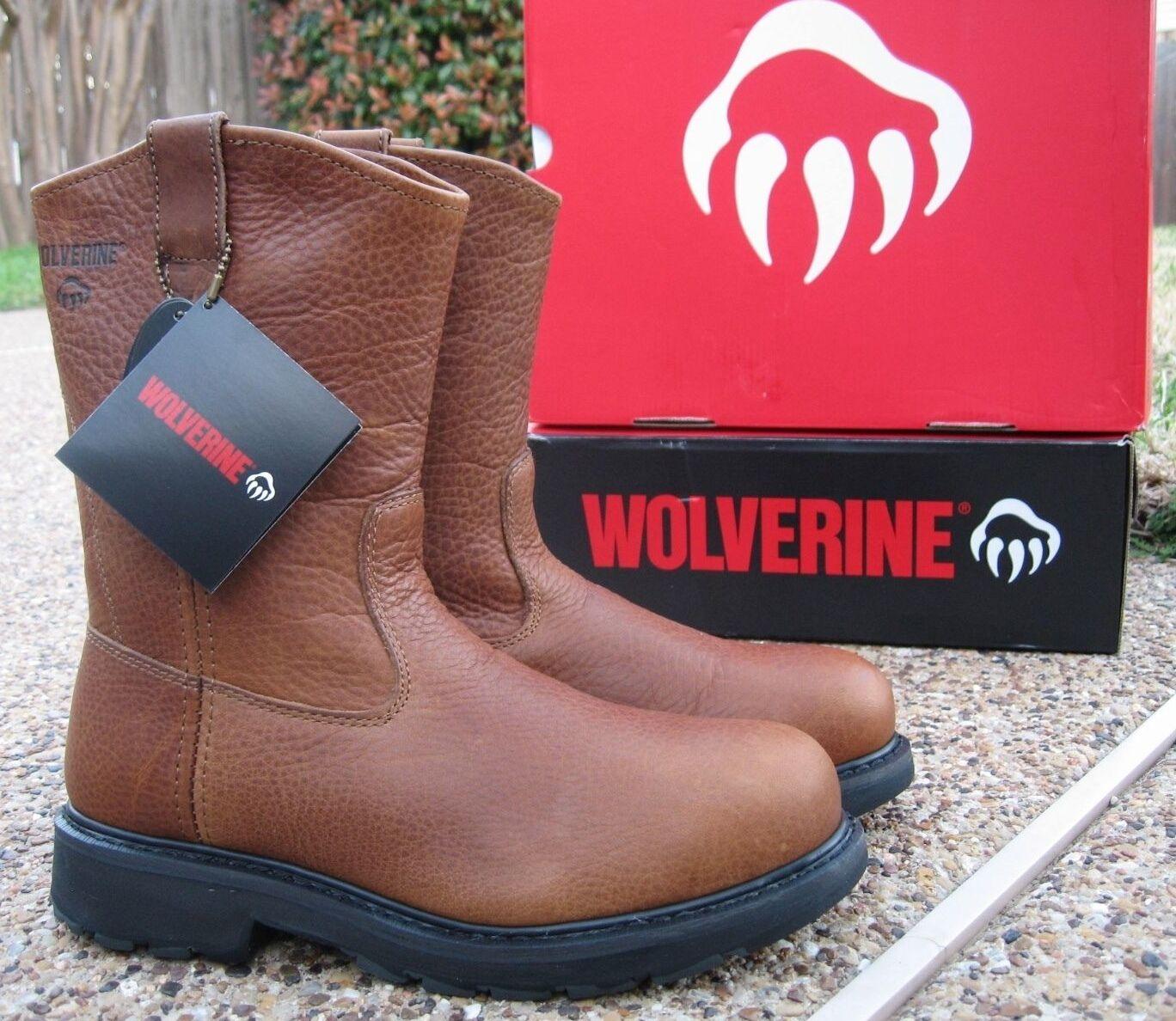 Nuevo Para hombres Wolverine HERRIN tan De todo el cuero Wellington Puntera De tan Acero Trabajo Botas W08377 703ffe