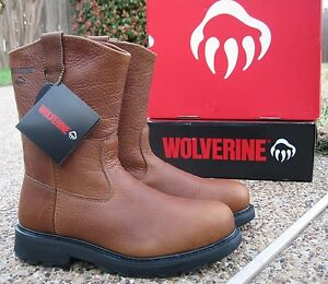 d9abd27f5b5 Details about NEW Mens Wolverine HERRIN Tan All Leather Steel Toe  Wellington Work Boots W08377