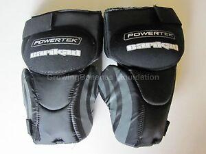 New Powertek V5.0 Barikad ice hockey goalie knee pad Jr sz thigh protector guard