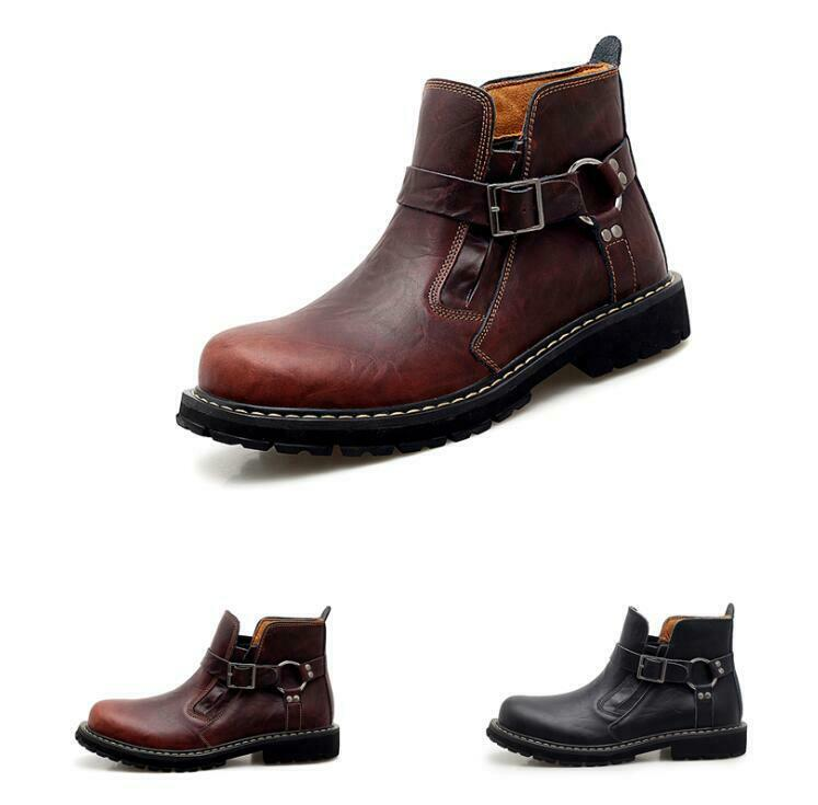 Vintage Mens Casual Buckle Leather Round Toe Ankle Chelsea Boot Work new shoes shoes