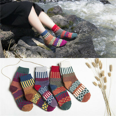 Sale!!5 Pairs Women Cashmere Wool Warm/&Soft/&Thick Casual Multicolor Winter Socks