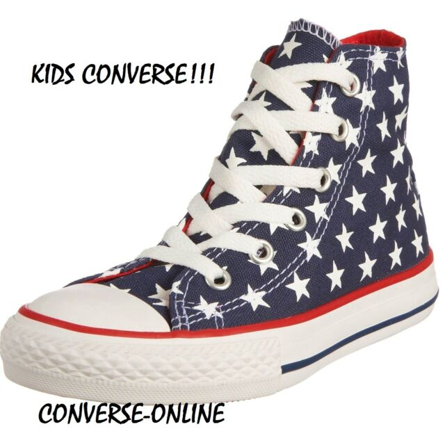295e1c5f2513 Kids Boys Girls CONVERSE All Star STARS HIGH TOP Blue Trainers Boots SIZE  UK 13