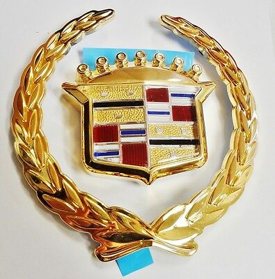 NEW!! Cadillac DEVILLE DTS DHS 2000 2001 GRILLE EMBLEM!! 24K GOLD PLATED!!