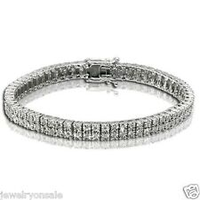 0.75 Cttw Round Diamonds 2 Row Mens Tennis Bracelet 925 White Gold Finish Fanook