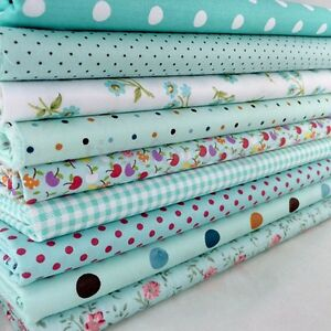 New-9Pcs-Bundles-Fabric-Cotton-Florals-Gingham-DIY-Craft-Quilt-Sewing-New