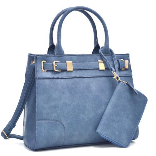 Dasein 2pcs Women/'s Handbags Faux Leather Satchel Shoulder Bag Work Purse