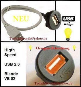 USB-Einbaubuchse-BELEUCHTUNG-Kabel-150cm-fuer-E34-E30-E60-E61-E91-E92-E93-F10-E70